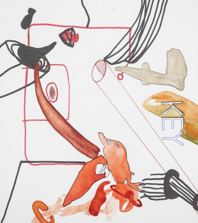 schlüssel nr.7, 2016, 22 x 19,5cm, aquarellfarbe, farbstifte/papier