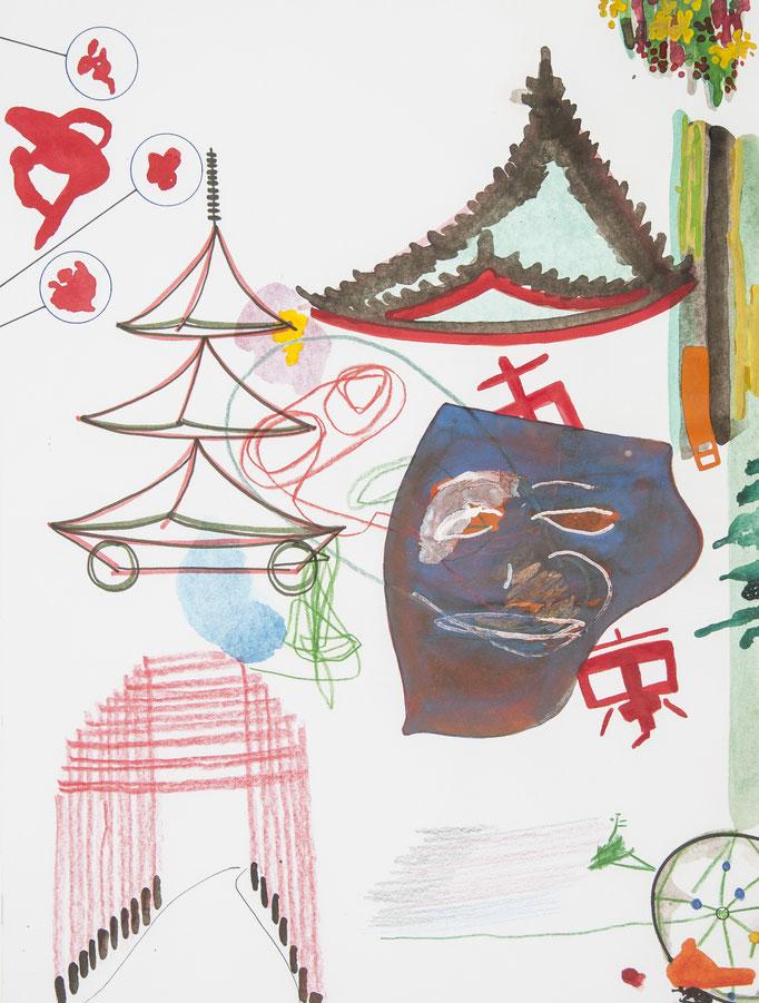 kyoto, 2017, 50 x 37,7cm, aquarellfarbe, farbstifte/papier