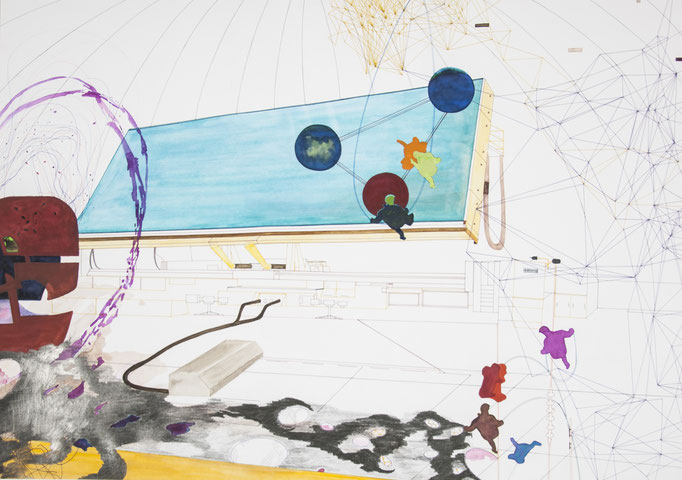 havarie, 2011, 70 x 100cm, aquarellfarbe, bleistift, farbstifte/papier