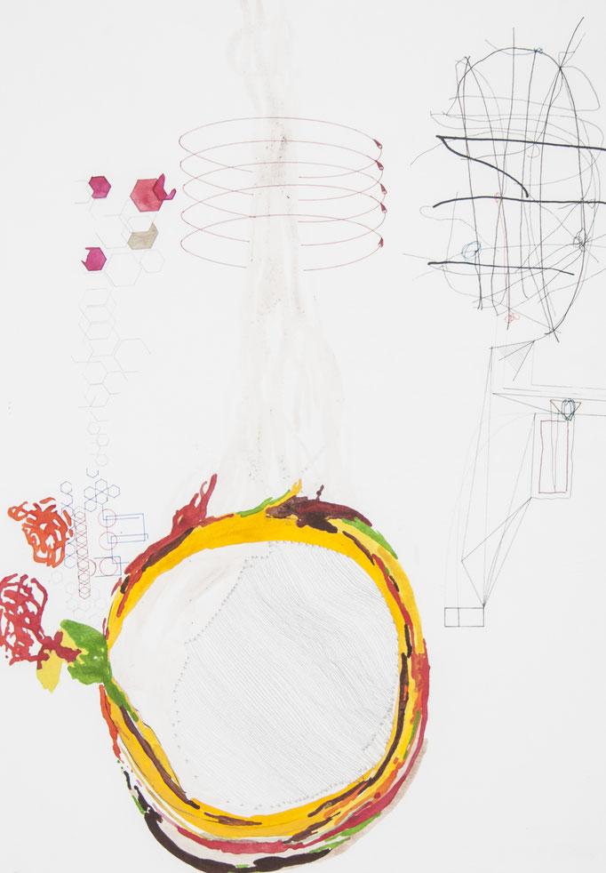 umlenkung, 2016, 50 x 35cm, aquarellfarbe, bleistift, farbstifte/papier