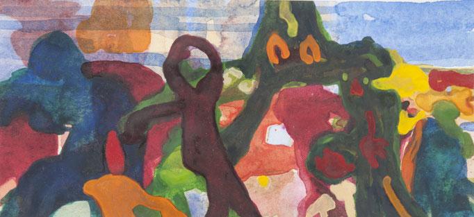 waldgeister, 2018, 9,7 x 20,7cm, aquarellfarbe/papier