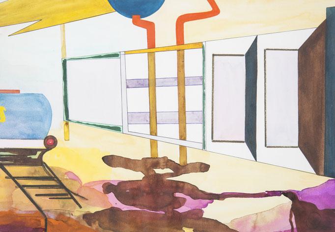 raffinerie, 2015, 32 x 45,8cm, aquarellfarbe, farbstifte/papier