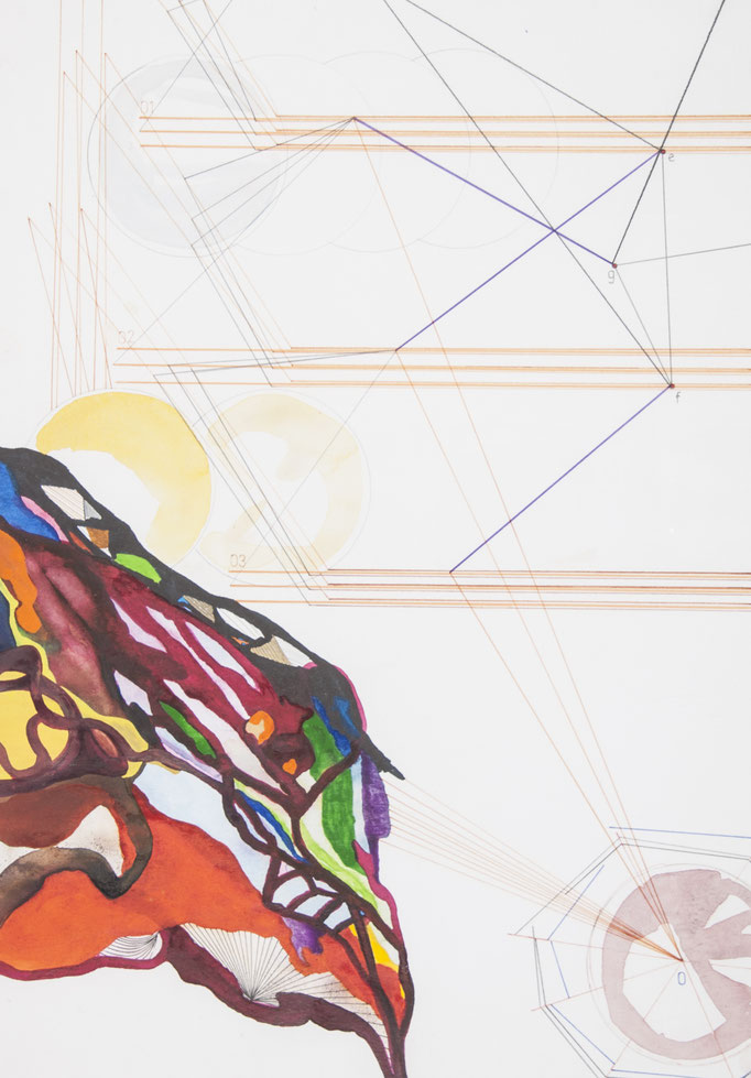 dreiklang, 2016, 50 x 35cm, aquarellfarbe, bleistift, farbstifte/papier
