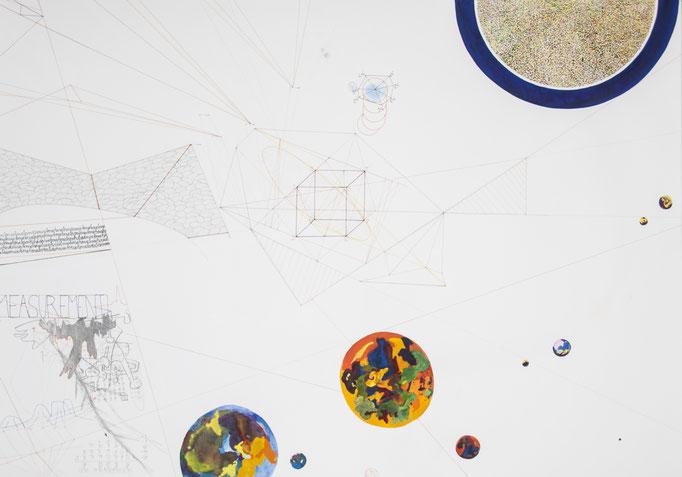 ausmass, 2014, 70 x 100cm,aquarellfarbe, bleistift, farbstifte/papier