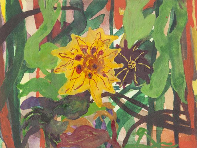 sonne-mond-pflanze, 2012, 18 x 23,8cm, aquarellfarbe/papier