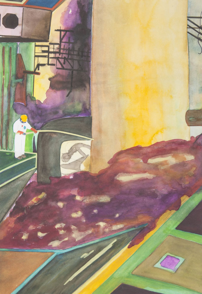 kontrolle, 2012, 49,7 x 34,5cm, aquarellfarbe, bleistift/papier