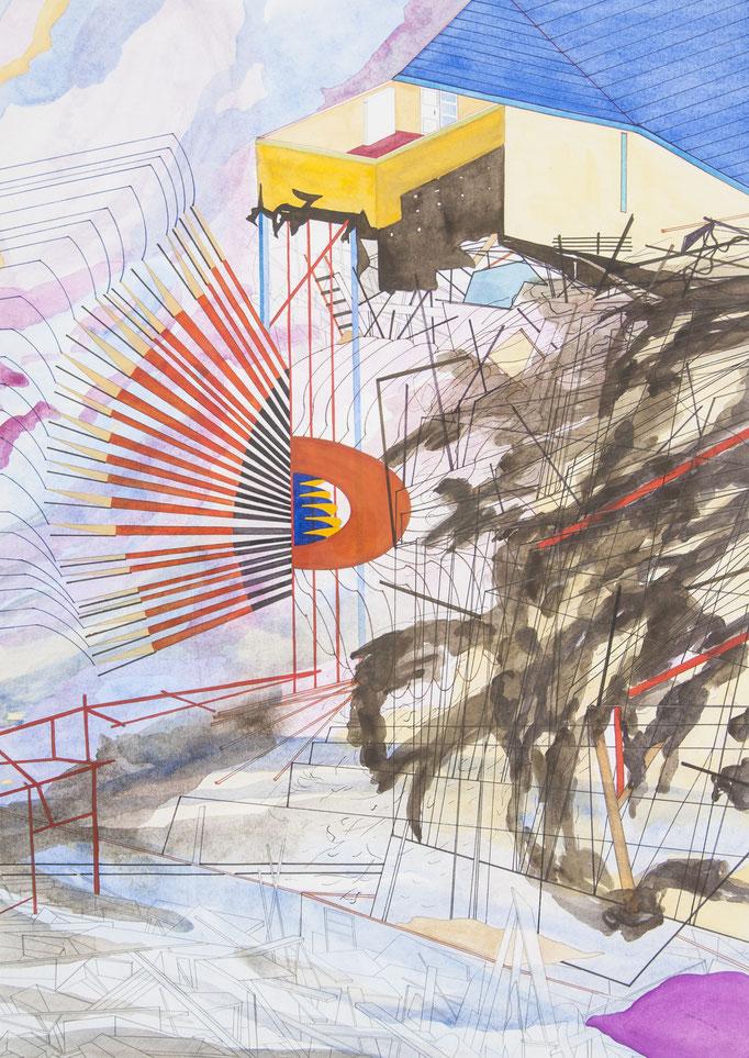 ausbruch, 2011, 70 x 49,5cm, aquarellfarbe, bleistift, farbstifte/papier