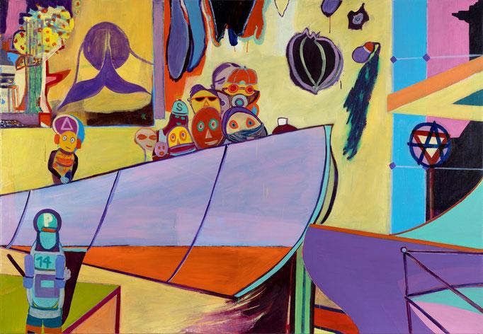 >democracy?<, 2019, 135 x 195 cm, oil/canvas