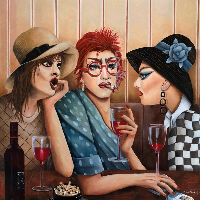 """""""Ladies, let's talk about...""""   2020  Öl und Acryl auf Leinwand   60x60 cm"""