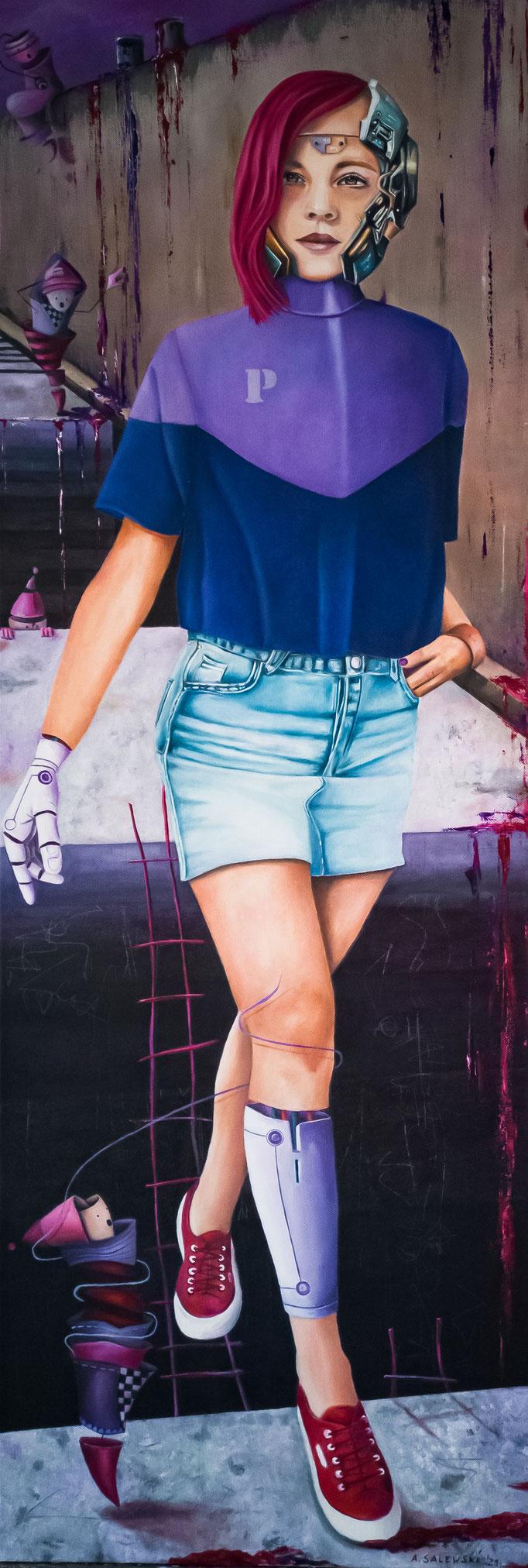 """Purple City""   2021   Öl und Acryl auf Leinwand   40x120 cm"