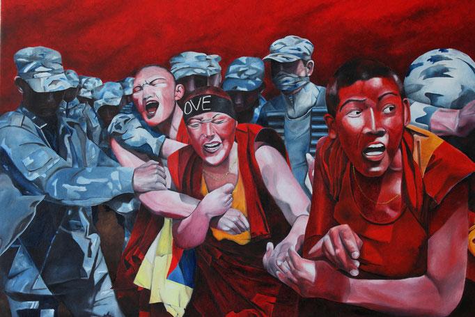 """Exilmönche"" | 2015 | Öl auf Leinwand | 80x60 cm"