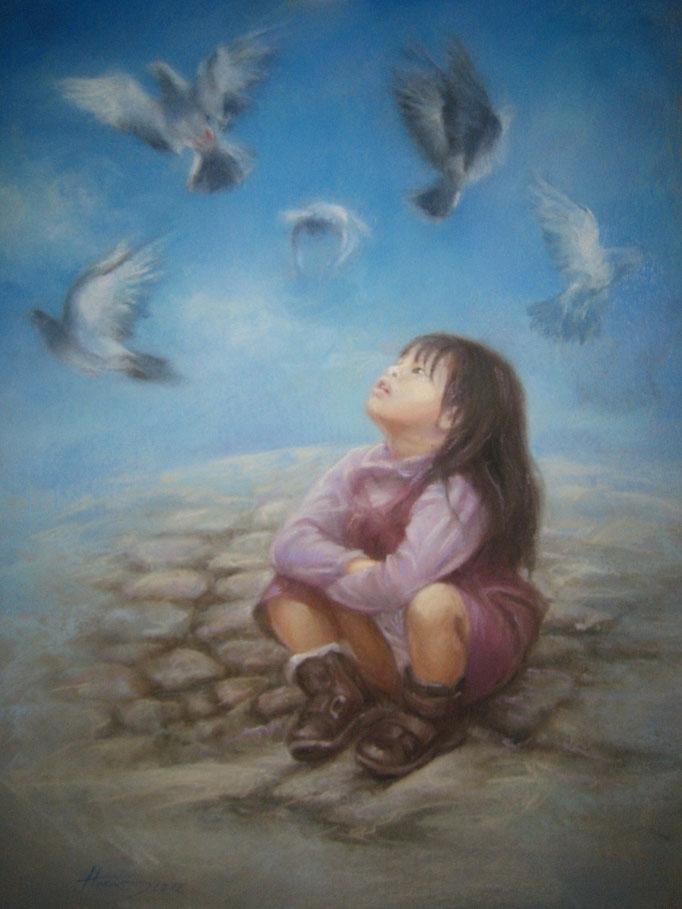 La fille et le ciel 50x70