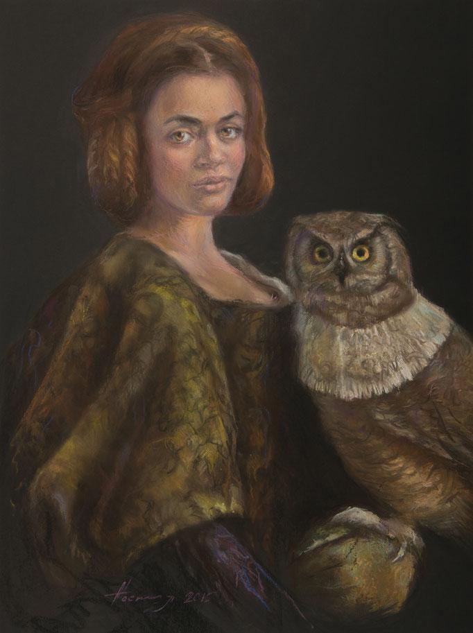 Femme chouette 50x60