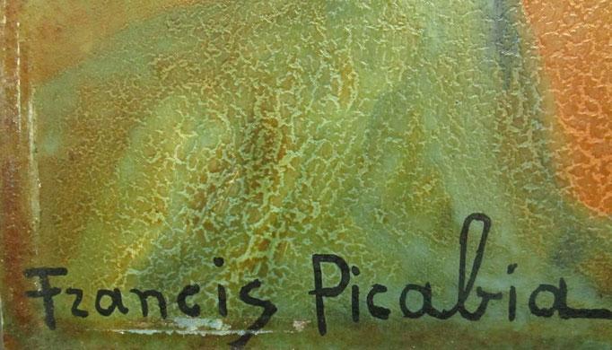 Détail, huile sur carton de Francis Picabia avant restauration