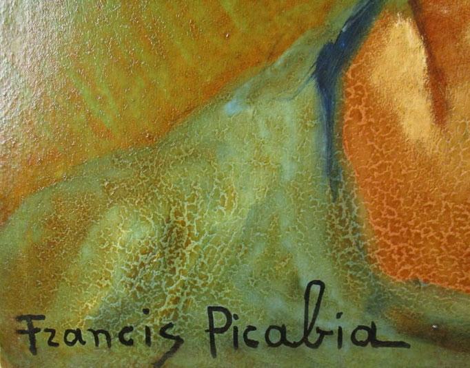 Détail, huile sur carton de Francis Picabia aprés restauration