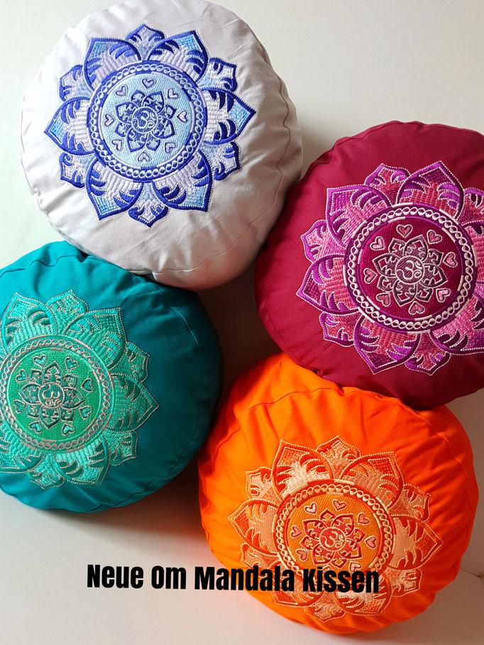 OM Mandala Meditationskissen in petrol, orange, hellgrau und bordeuaux