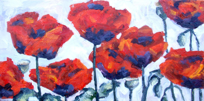 Black-hearted poppies, oil on canvas, 12 x 24, sold