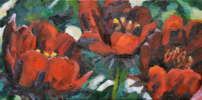 Angry Flowers, oil on canvas, 10 x 30
