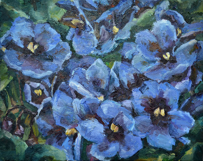Violent violets, oil on board, 16 x 20