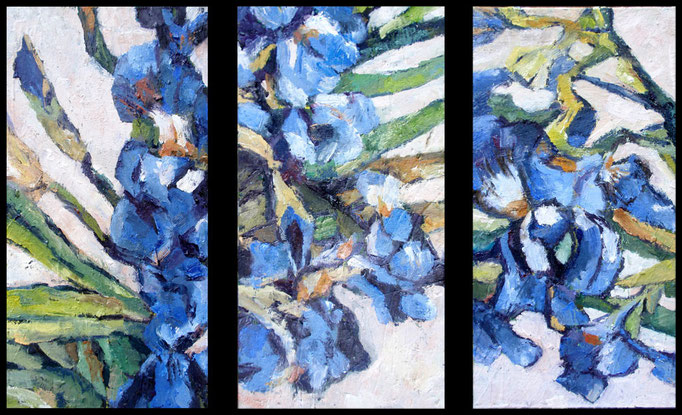Homage to Van Gogh, oil on canvs, 3 panels, 8 x 16 each, sold