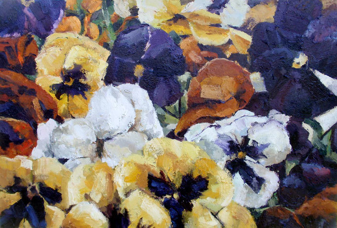 Pansies, seed packet series, oil on canvas, 39 x 27, sold