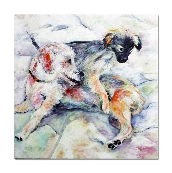 Acrylbild 100 x 100 Spielende Hunde - Mutter und Nachwuchs