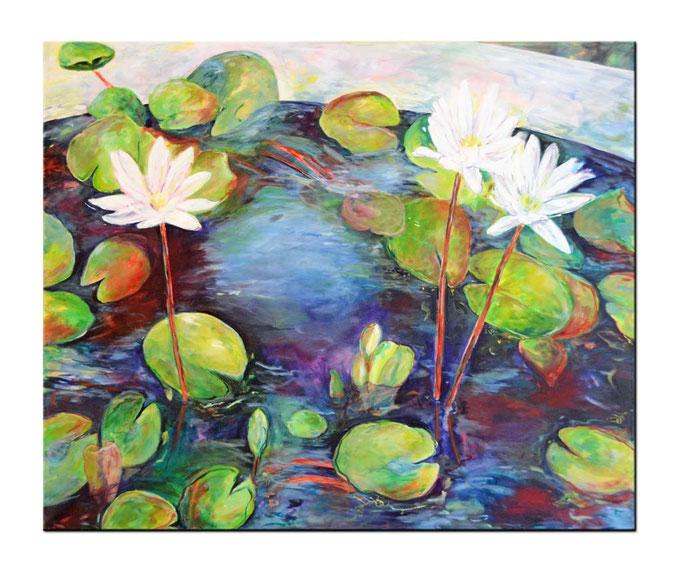 Acrylbild 120 x 100 Seerosen