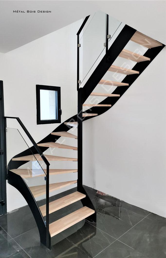 Escalier sur mesure 2 quart tournant