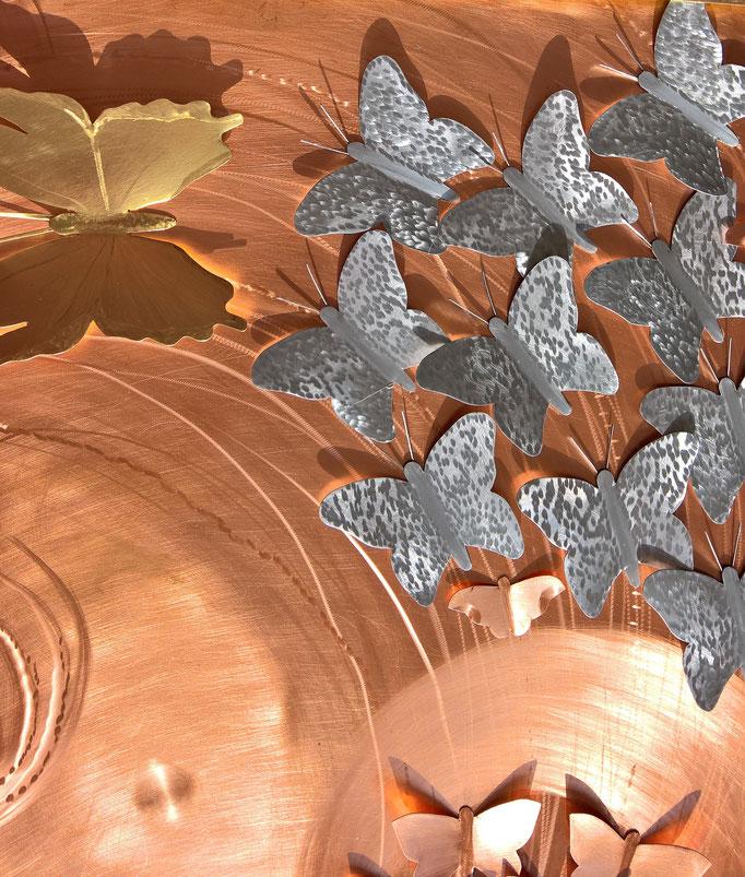 "Bild ""Der Schwarm"" - Dekoidee Haus Garten Gartendekoration, Deko, Garten, Metall, Zink, Zinkkunst, Kunst aus Zink, Kupfer, Kupferkunst, Kunst aus Kupfer, Messing, Kunst aus Messing Kunst aus Blech, Blechkunst"