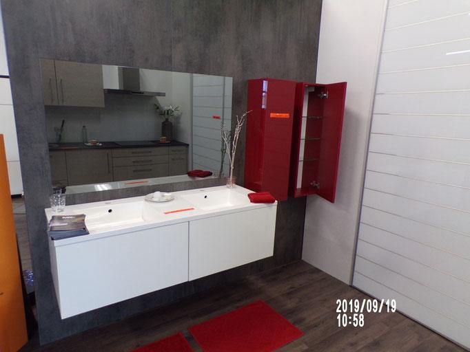 Meuble salle de bains suspendu, 2 tiroirs stratifié, double vasque, armoirettes 1 vtl étagères verre, - 40% 979 € HT