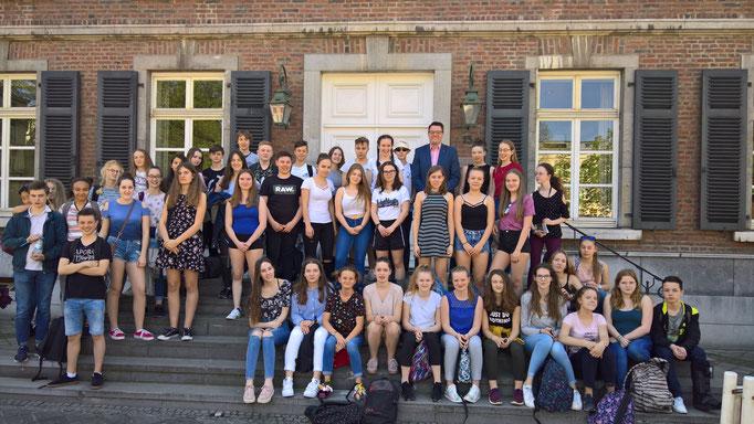 Gemeinsam mit den Austauschschülern aus Valognes (Frankreich)