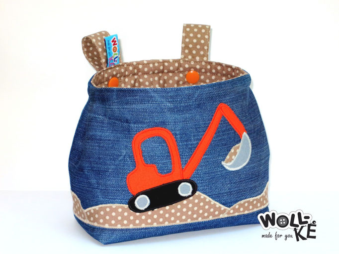 Lenkertasche Bagger Jeans-Upcycling von Woll-KE