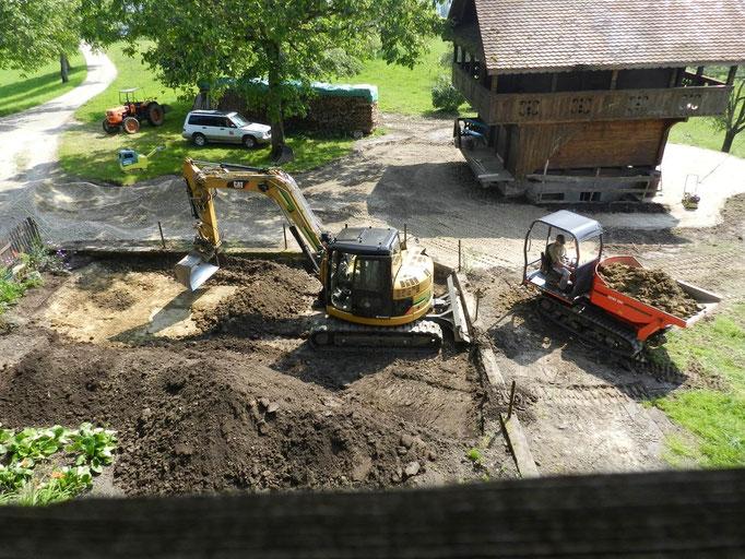 mit der grossen Maschine gehts auch im Garten einfacher