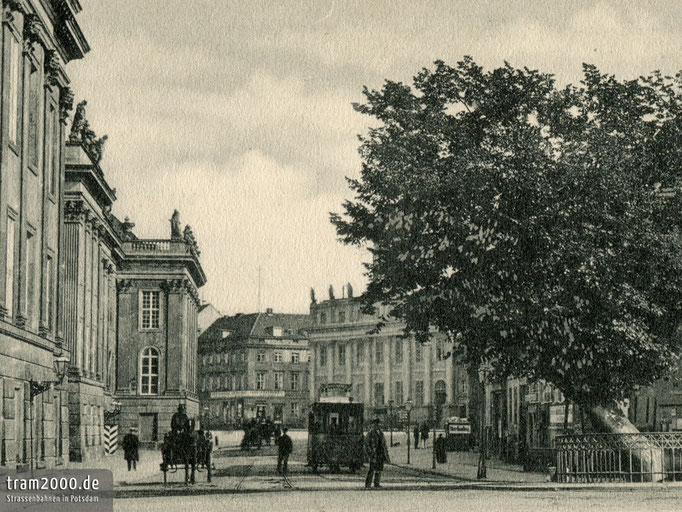 Wagen 20 der Potsdamer Pferdebahn an der Bittschriftenlinde vor dem Stadtschloss.