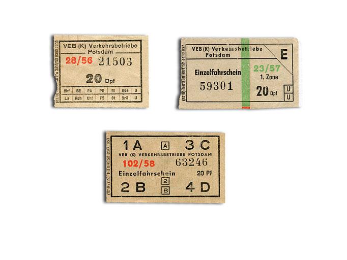 Fahrscheine von 1956 (links), 1957 (rechts) und 1958 (unten)