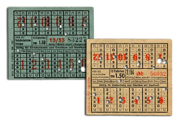 12-Fahrten-Karte von 1953 (links) und 1954 (rechts)