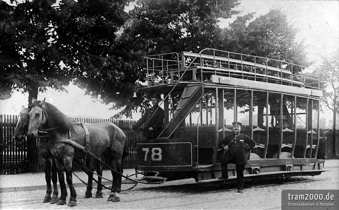 Offener Decksitzwagen Nr. 78 der Potsdamer Pferdebahn