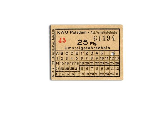 Umsteigefahrschein um 1950