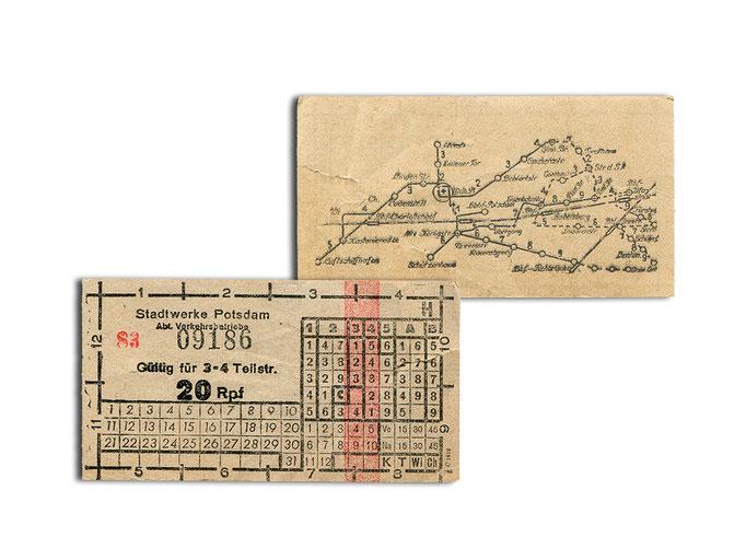 Einzelhfahrschein für 3-4 Teilstrecken der 1930er Jahre