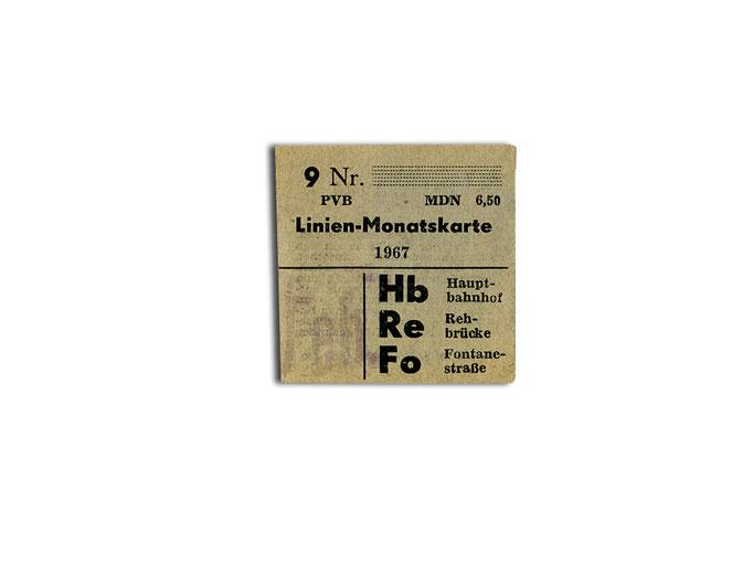 Linien-Monatskarte von 1967