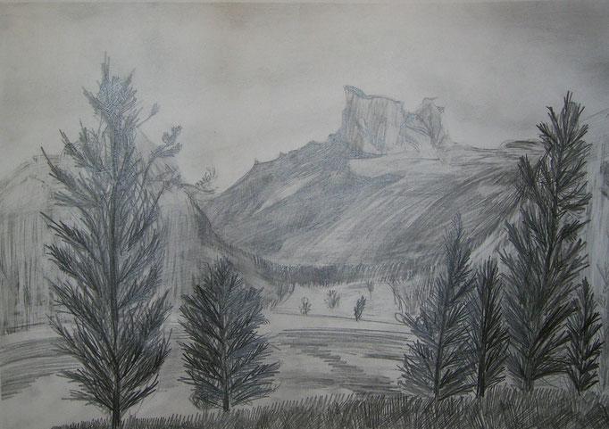 Горы (карандаш)