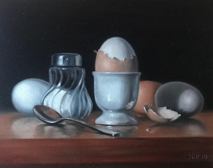 Eier & Salz, 24 x 30 cm, Öl auf Leinwand, alla Prima, Limitierte Palette (Schwarz, Weiß, Braun)