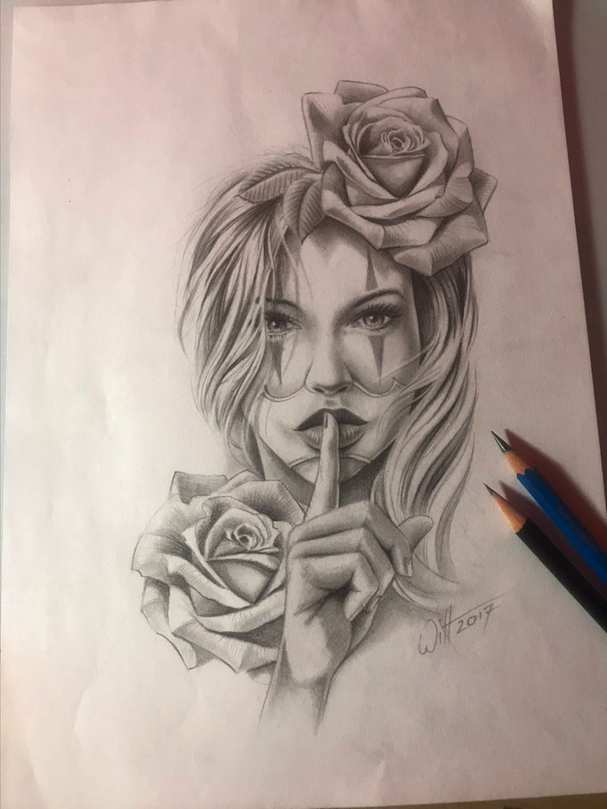 DIN A4, Grafit, Tattoovorlage