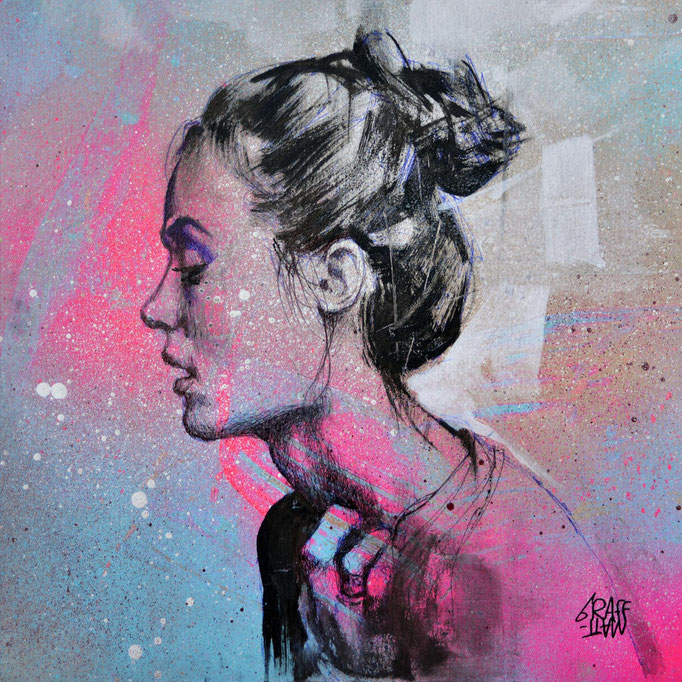 """<b>NO MORE</b><br>20 x 20 cm<br><a style=""""color:#db6464;"""">Actuellement en exposition <alt=""""art tableau streetart graffiti france paris lyon chambéry savoie rhone alpes spray paint tableau urbain portrait femme woman œuvre>"""