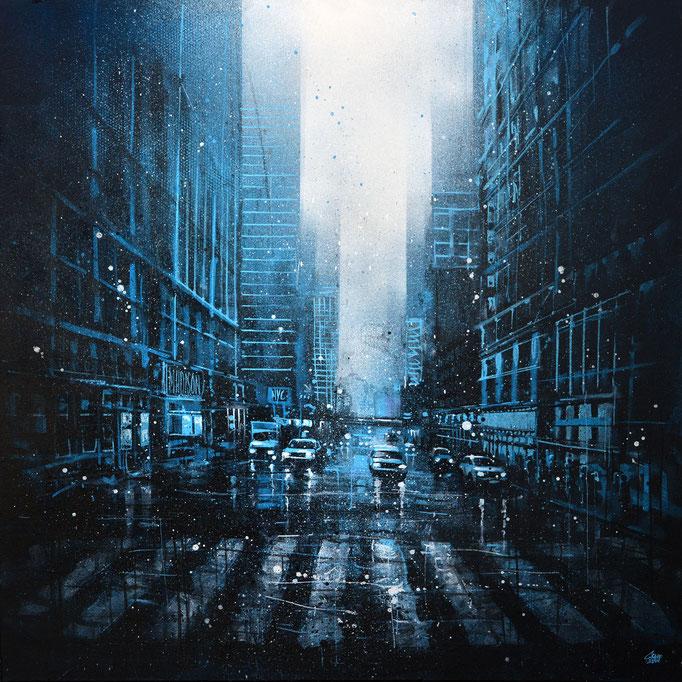 "<b>BLUE HOUR</b><br>80 x 80 cm<br><a style=""color:#db6464;"">Vendu</br></a> <alt=""art artiste peintre contemporain ville newyork street rue urbain france streetart savoie chambery graffmatt"">"