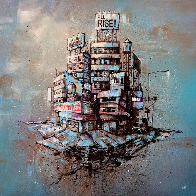 """<b>ALL RISE</b><br>80 x 80 cm<br><a style=""""color:#db6464;"""">Vendu</br></a> <alt=""""art artiste peintre contemporain tableau ville illustration street urbain france streetart savoie chambery graffmatt"""">"""