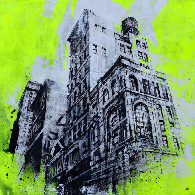 """<b>WORM'S EYE VIEW</b><br>80 x 80 cm<br><a style=""""color:#db6464;"""">Vendu</br></a> <alt=""""art streetart tableau œuvre d'art artiste français france graffiti urbain urban art ville jaune fluo fluorescent cityscape"""""""