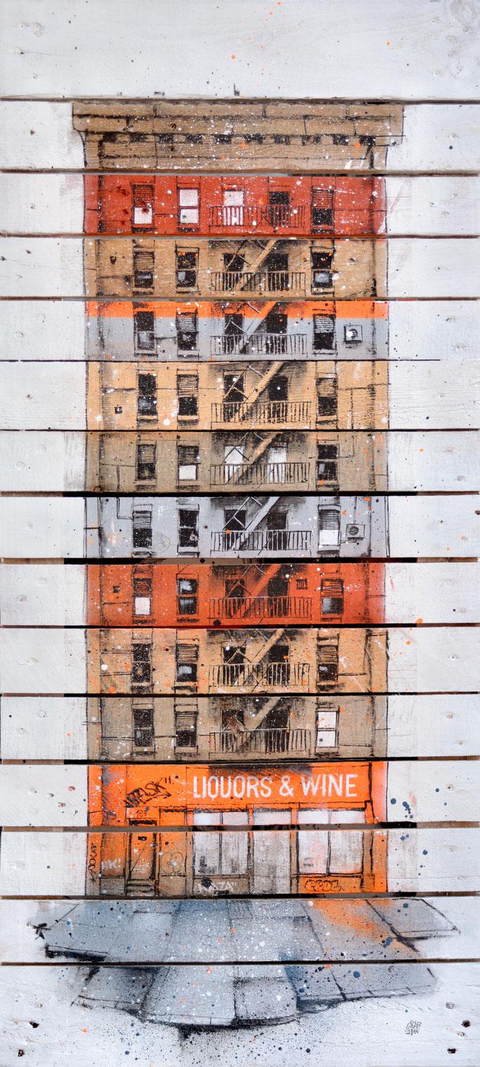 """<b>LIQUORS & WINE</b><br>150 x 100 cm<br><a style=""""color:#db6464;"""">Vendu</br></a><alt=""""art peinture streetart urbain ville sculpture urbaine contemporain bois palette>"""