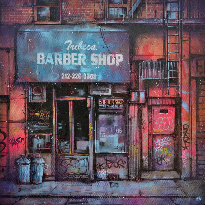 "<b>TRIBECA BARBER SHOP</b><br>80 x 80 cm<br><a style=""color:#db6464;"">Vendu</br></a><alt=""art tableau streetart urbain ville peinture urbaine facade devanture newyork"