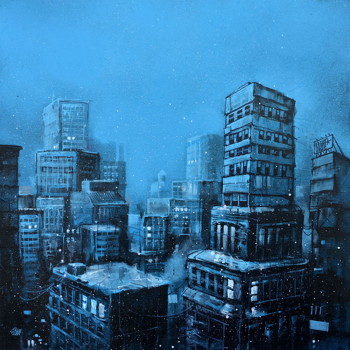 "<b>BEFORE THE NIGHT</b><br>60 x 60 cm<br><a style=""color:#db6464;"">Vendu</br></a> <alt=""art artiste peintre contemporain ville new-york hiver bleu france streetart savoie rooftop painting winter newyork city"">"